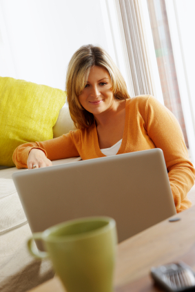 Human Woman Working on Laptop XS